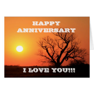 Happy Anniversary Kansas Sunset Greeting Card
