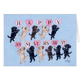 Happy Anniversary Labradors Greeting Card