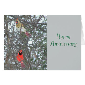 HAPPY ANNIVERSARY/MALE & FEMALE CARDINAL IN TREE NOTE CARD