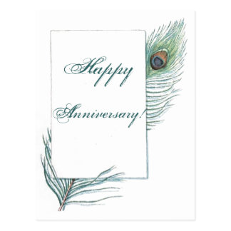 Happy Anniversary Peacock Feather Inspirational Postcard