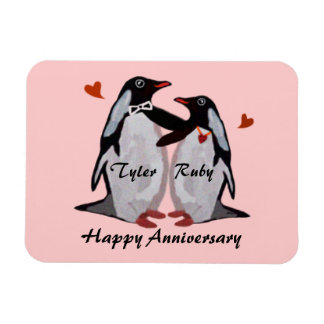 Happy Anniversary Penguin Love Premium Magnet
