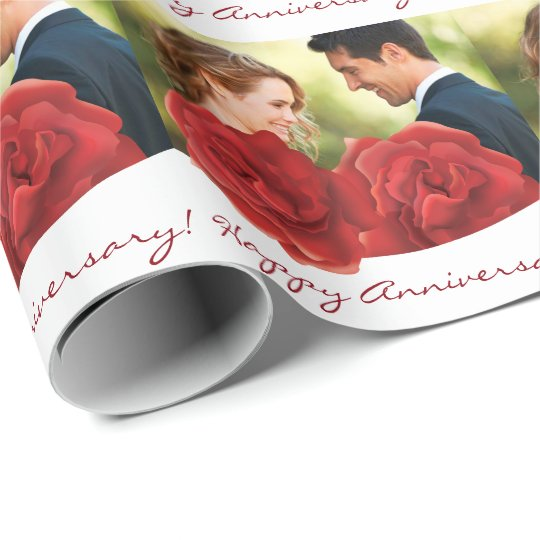 Happy Anniversary photo red roses Wrapping Paper