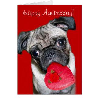 Happy Anniversary Pug greeting card
