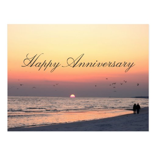 Happy Anniversary Romantic Couple Beach Sunset Postcard