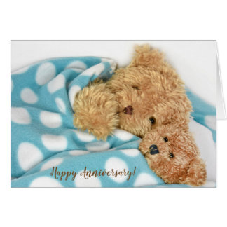 Happy anniversary snuggling teddy bears card