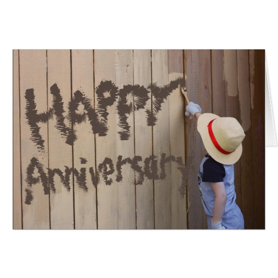 Happy Anniversary Sunhat Boy Painting Fence Card