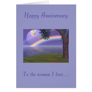 Happy Anniversary, To the woman I love Greeting Card