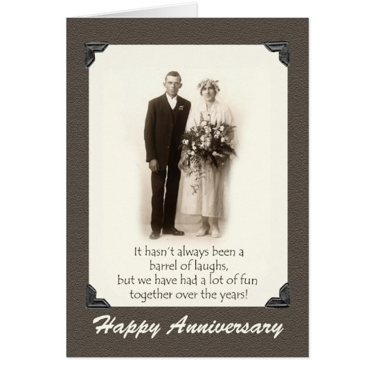 Happy Anniversary, Vintage couple, Humour, Funny Card