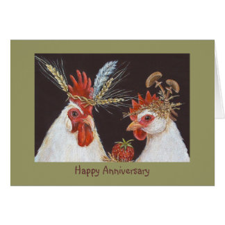 Happy Anniversary with rooster and hen Card