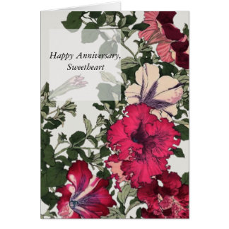 Happy Anniversary with Ruffled Pink Petunias Card