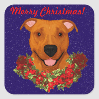 Happy APBT Square Stickers *Christmas