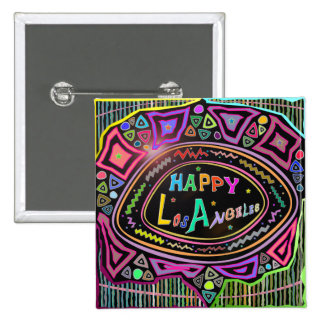 "Happy Art: ""Happy Los Angeles"" Button"