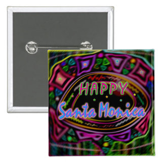 "Happy Art: ""Happy Santa Monica"" Buttons"