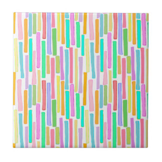 Happy art stripes fun colorful painting tiles