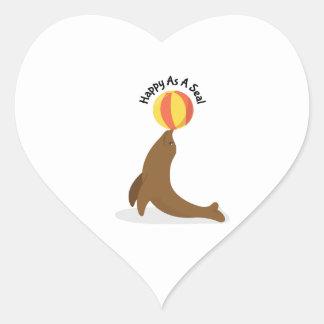Happy As Seal Heart Sticker