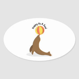 Happy As Seal Oval Sticker