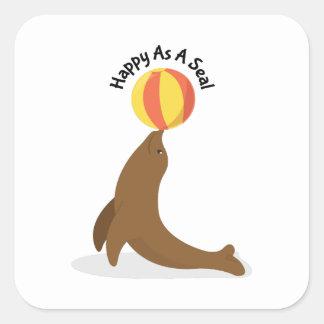 Happy As Seal Square Sticker