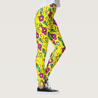 happy attractive flower leggins leggings
