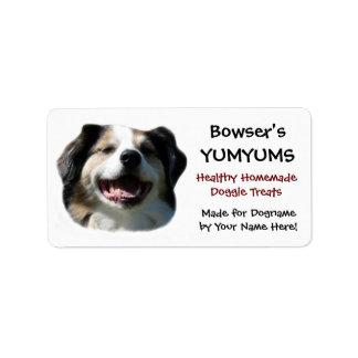 Happy Australian Shepherd custom  Dog Treats Label Address Label