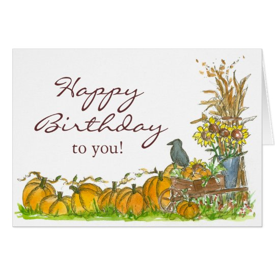 Happy Autumn Birthday Pumpkin Patch Black Crow Card