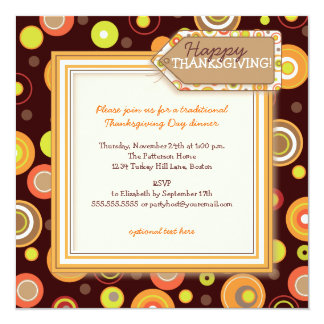 Happy Autumn Dots Retro Thanksgiving Dinner Card
