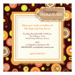 Happy Autumn Dots Retro Thanksgiving Dinner Personalized Announcement