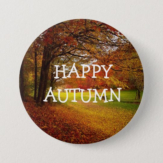 Happy Autumn Fall Colours Button