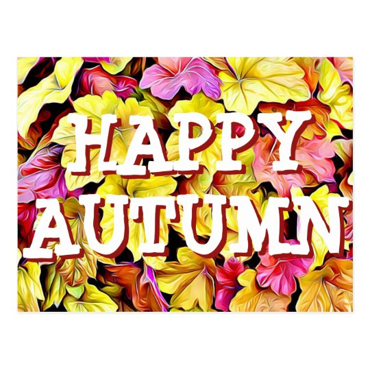 Happy Autumn Fall Leaves postcard