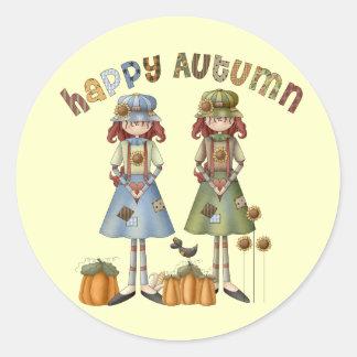 Happy Autumn Thanksgiving Round Stickers