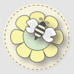 Happy Baby Bee in Yellow Round Sticker