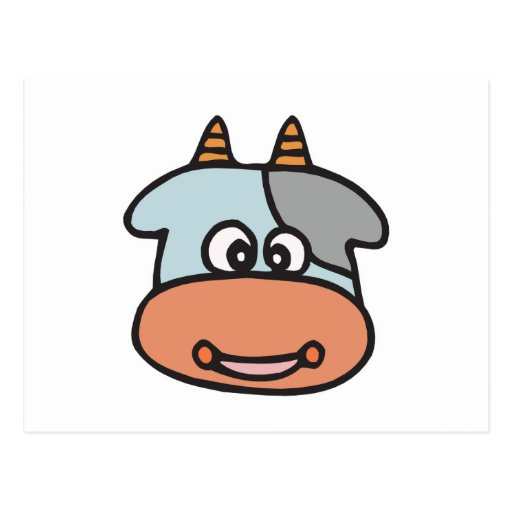 happy baby cow face postcards
