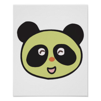 happy baby panda face posters