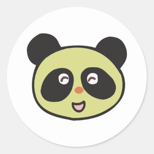 happy baby panda face round sticker