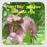 Happy Baby Rainforest Yoga Square Stickers