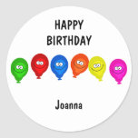 Happy Balloons, HAPPYBIRTHDAY, Round Sticker