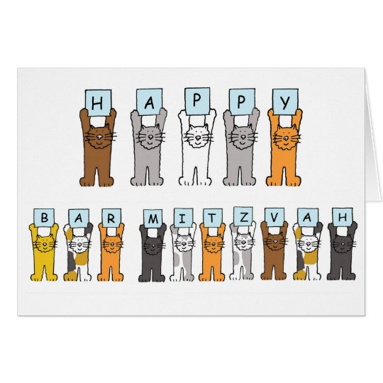 Happy Bar Mitzvah Cartoon Cats Card