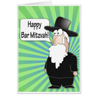 Happy Bar Mitzvah greeting card - Funny Rabbi