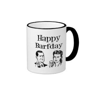 Happy Barfday Retro Man & Woman B&W Coffee Mug