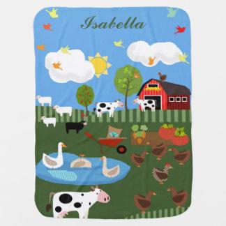 Happy Barnyard Animals Scene Custom Name Baby Blanket