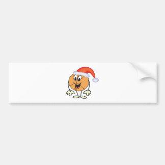 Happy basketball smiley  wearing a santa hat car bumper sticker