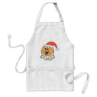 Happy basketball smiley  wearing a santa hat standard apron