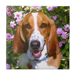 Happy Basset Hound Small Square Tile
