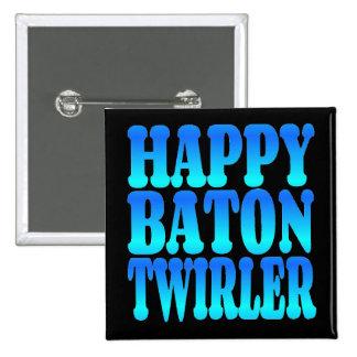 Happy Baton Twirler in Blue 15 Cm Square Badge