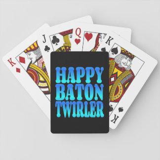 Happy Baton Twirler in Blue Poker Deck