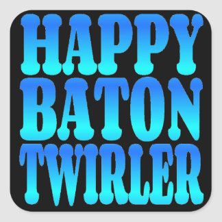 Happy Baton Twirler in Blue Square Sticker