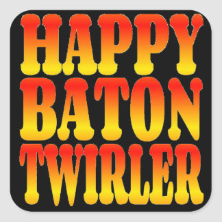 Happy Baton Twirler in Bright Colors Square Sticker