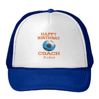 Happy Bday Soccer Coach Orange/Teal/Blue Starburst Cap