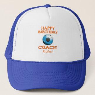 Happy Bday Soccer Coach Orange/Teal/Blue Starburst Trucker Hat