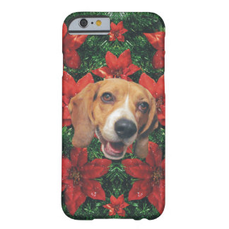 Happy Beagle Christmas Poinsettias Barely There iPhone 6 Case