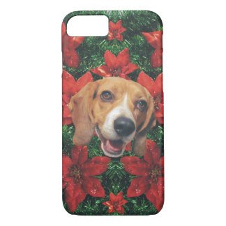 Happy Beagle Christmas Poinsettias iPhone 7 Case